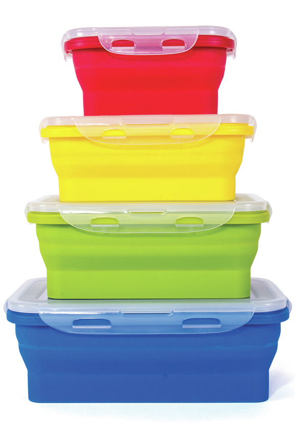 Thin Bins Collapsible Silicone Storage Set 4 Containers