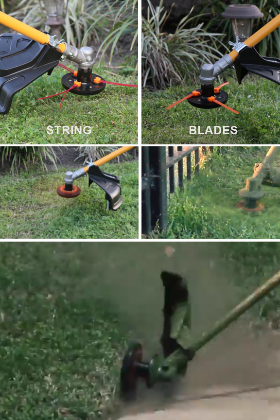 Choose from blades or strings. Cut close to cement, fences and trees without damage, and without breaking line.
