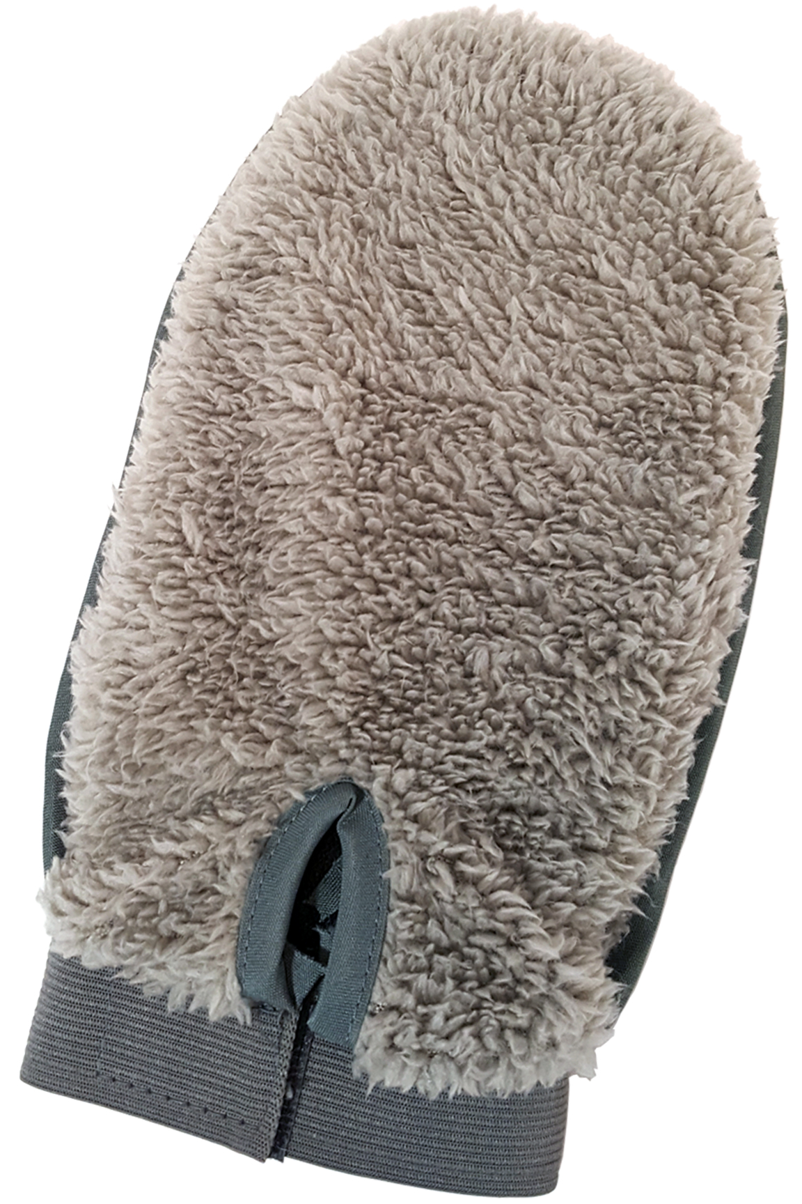 Fluffy back side for wiping, dying, washing or cleaning. Adjustable strap.