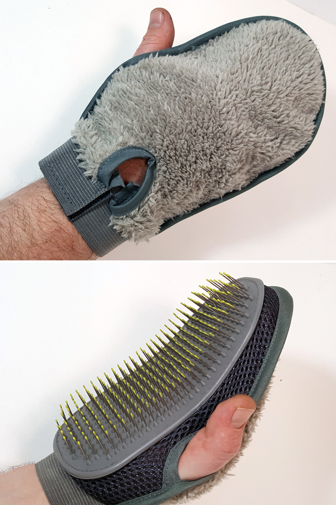 Mitt detail: Flexible brush on one side. Plush material on the other side.