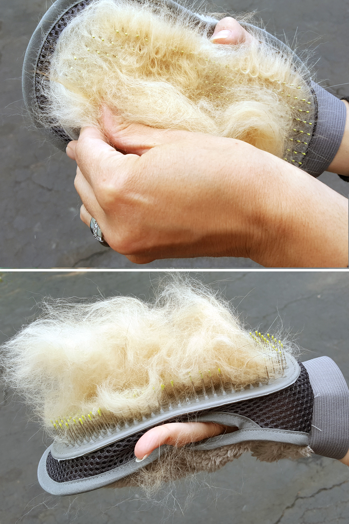 Remove loads of fur quickly and easily. Brush design helps to collect it.