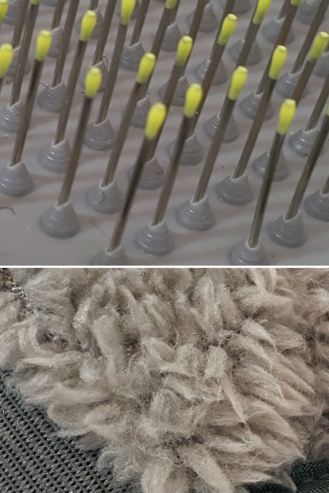 Close up view: Silicone coated brush tips. Thick, soft material.
