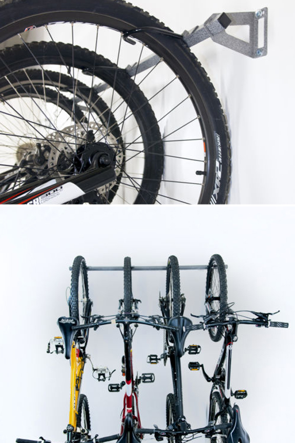 Sturdy steel rack mounts to any wall, and holds virtually any bike.