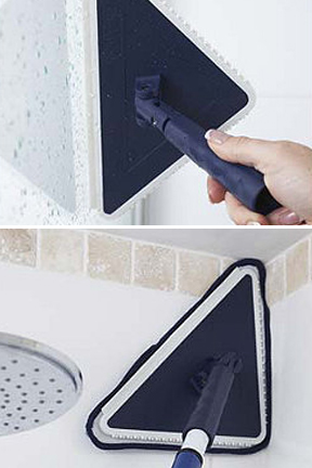 Squeegee dry surfaces and get into corners.