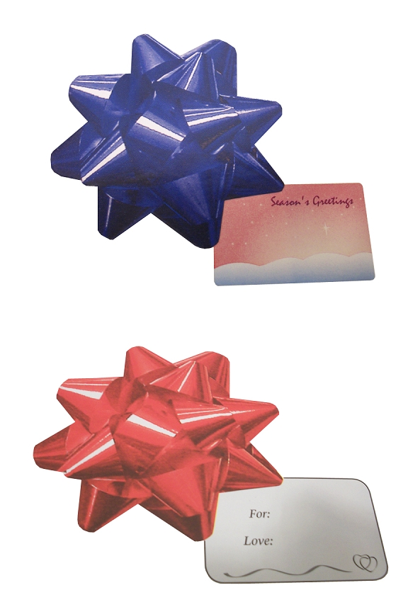 Large bows look like the real thing, and have gift tags attached.
