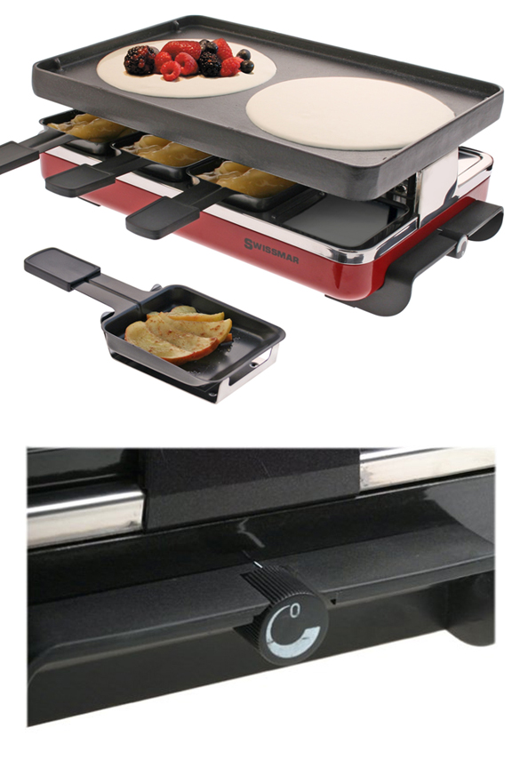 Fully adjustable heat control. Complete with 8 spatulas and 8 raclette dishes.