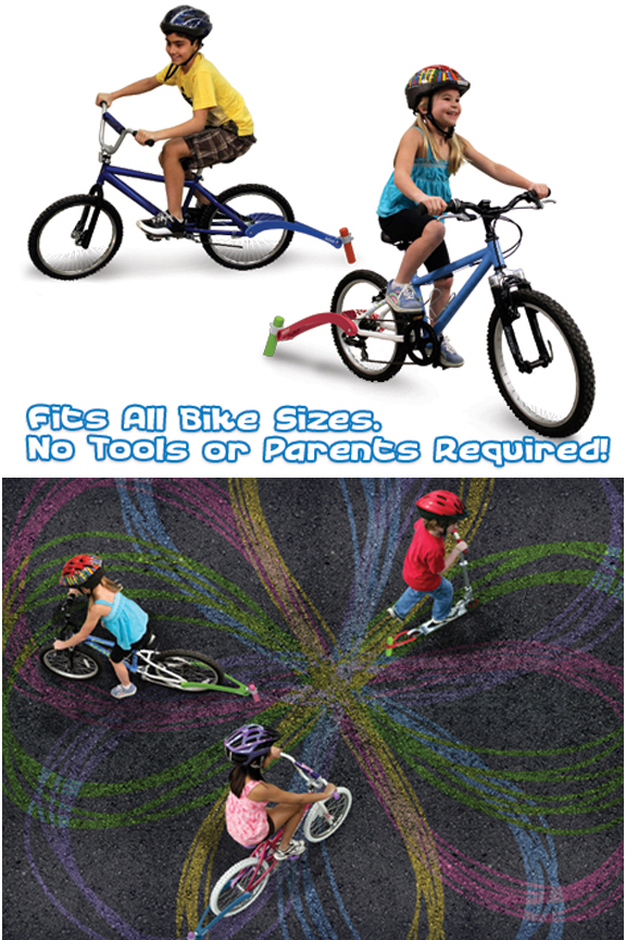 Create fun patterns and colorful shapes just by riding.