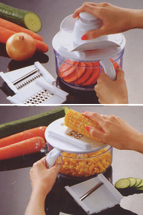 Take corn off the cob, or slice tomatoes with the included attachments.