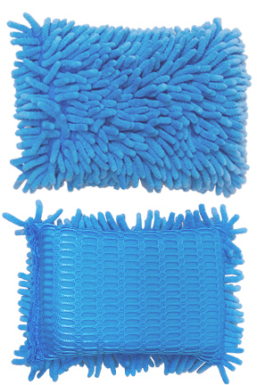 An extra large chenille wash sponge with scrubbing mesh.