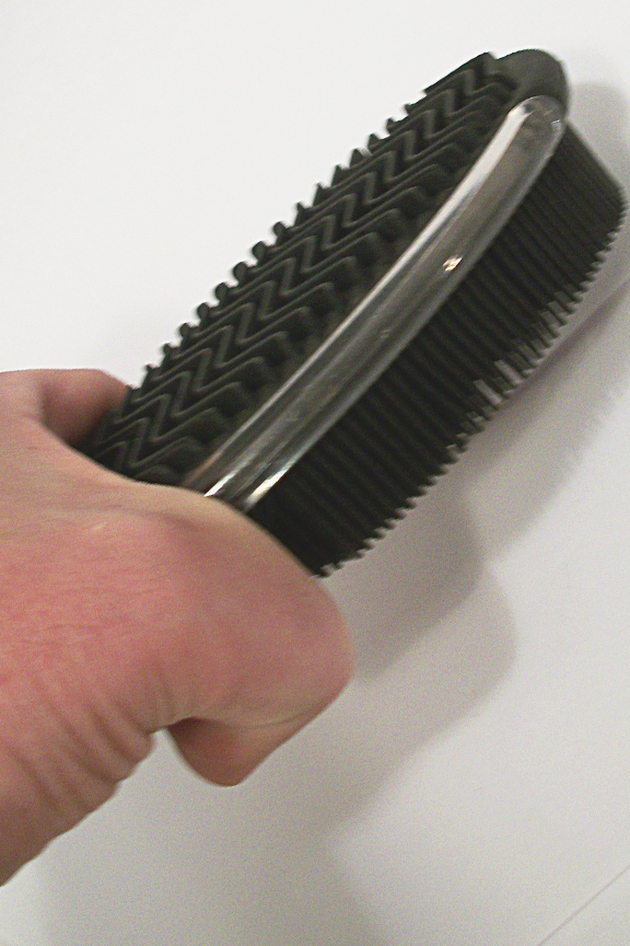 Large brush covers more surface area with each stroke.