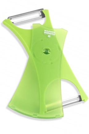 Kuhn Rikon Dual Peeler - Serrated and straight blades on one tool.