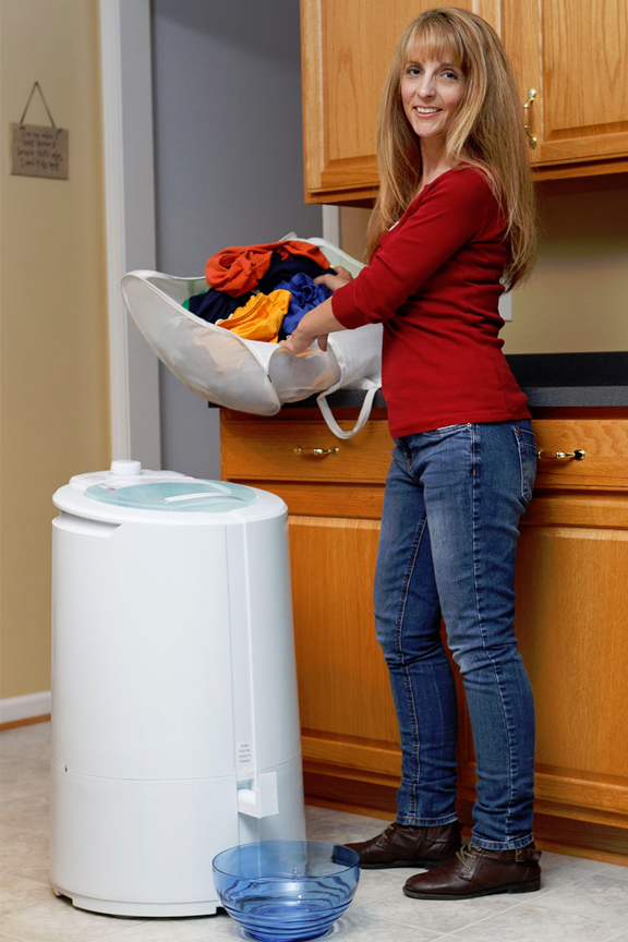 Mega capacity spinner holds up to 22 pounds of laundry.