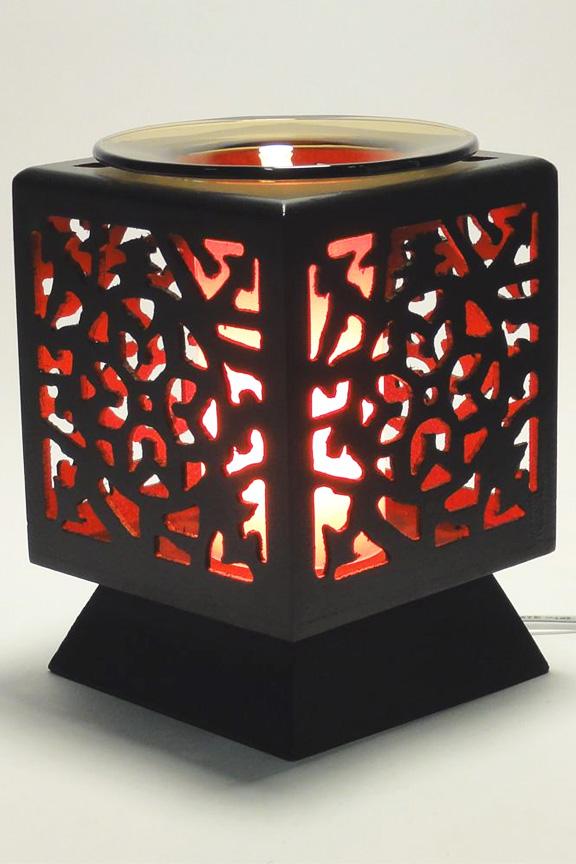 Colored glass creates a warm glow when illuminated.