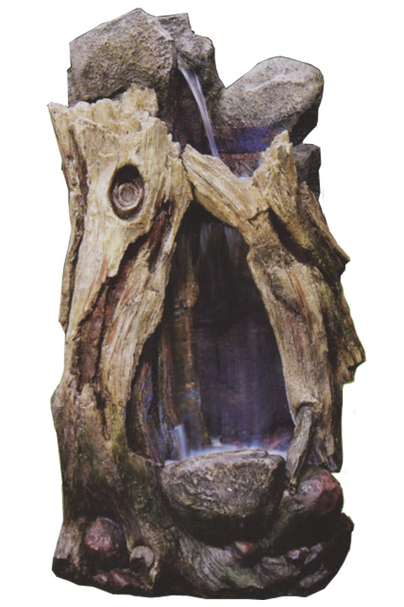WIN270S Rain Forest Tree Stump Waterfall Fountain