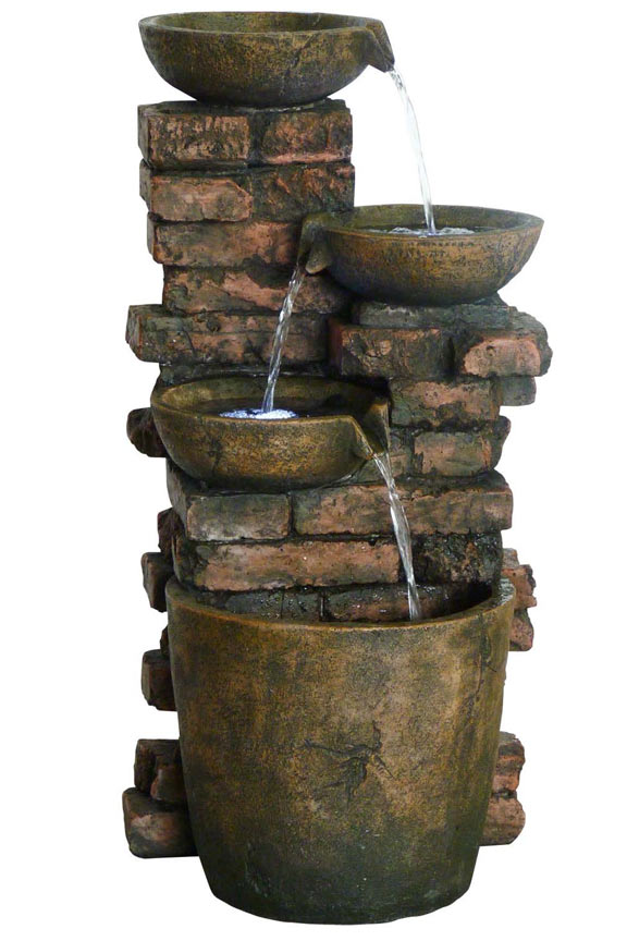 Three Pot Fountain With LED Lights