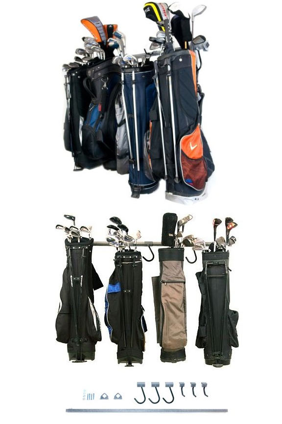 Includes several different hooks and brackets to make it easy to hang any bag.
