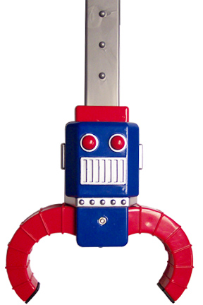 Close Up View. Robot Face With Grabbing Arms.