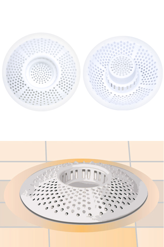 Product detail. Top and bottom view. Drain trap sits down inside for effective function.