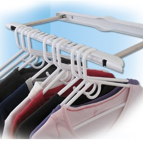 Indentations give each hanger a place, and ensure things stay organized.