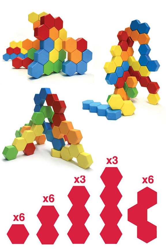 24 Blocks and a total of 57 hexagons offer a range of building options.