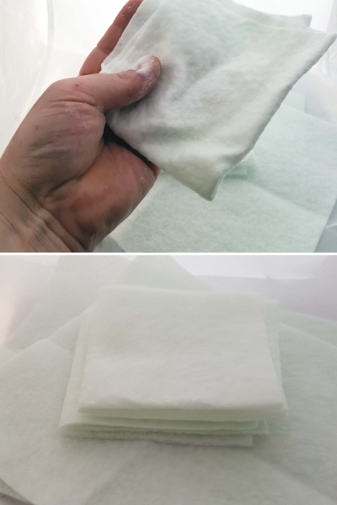 Gentle soap is safe for all surfaces. Powerful fabric cuts through grime safely.