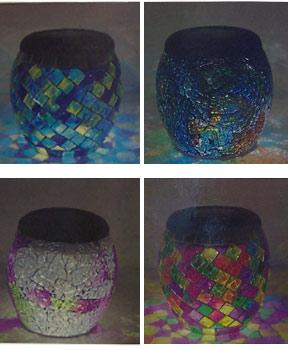 Bright LED lights illuminate the colored glass.