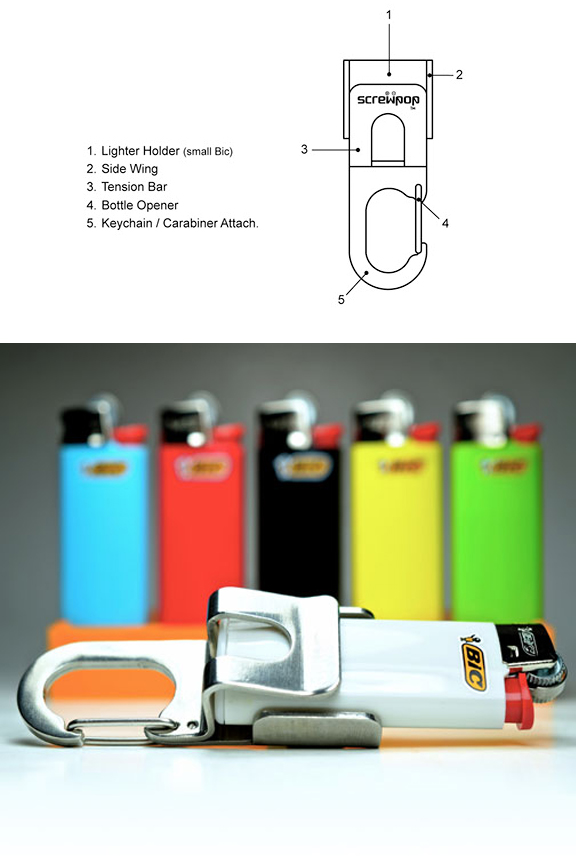 Provides a secure hold on mini Bic lighters and others.