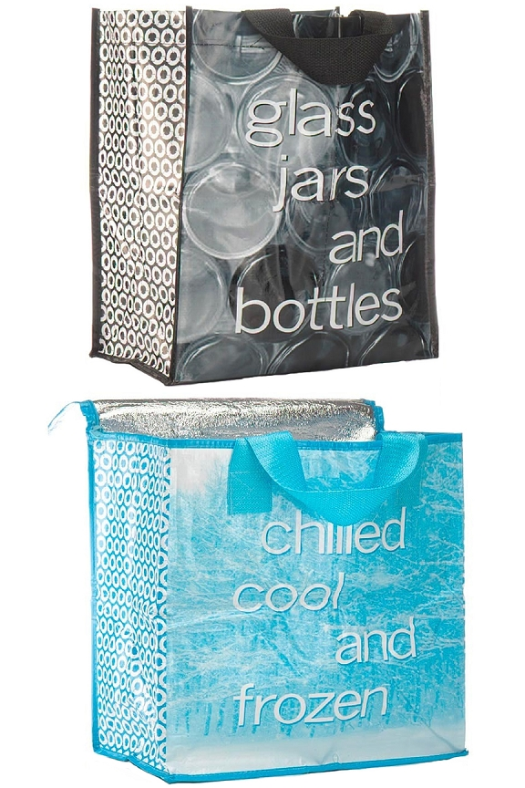 Glass bag with internal bands to prevent movement, and insulated bag for cold stuff.