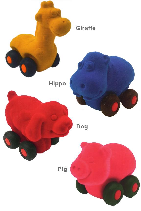 Aniwheelies styles. Giraffe, hippo, dog and pig.