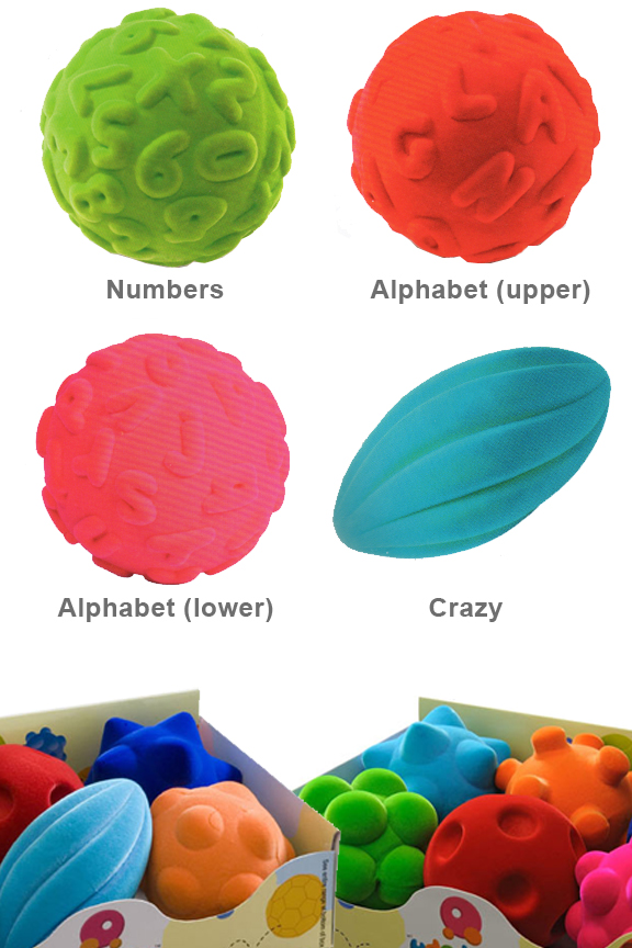 Wide variety of squishy shapes with bright colors.