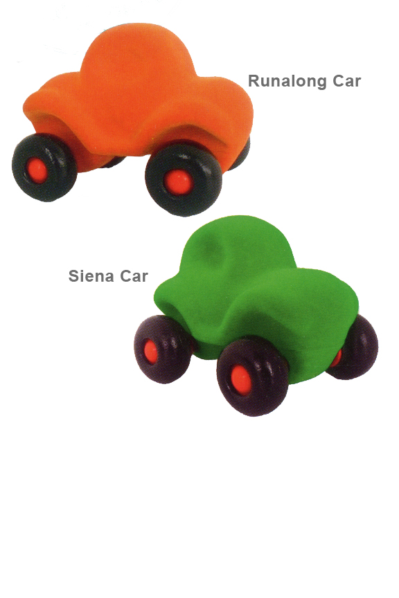 Little rubber cars with a soft coating.