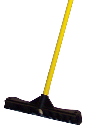 Thick, one-piece rubber broom head.