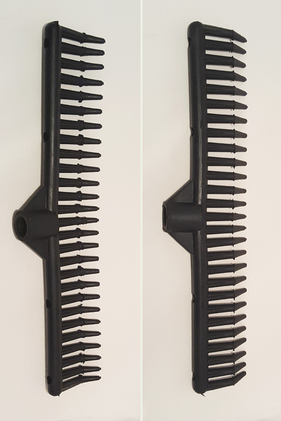 Product detail. Top and bottom view - rake head.