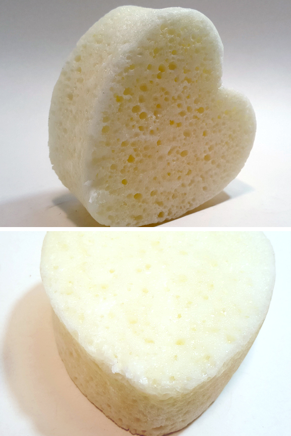 Poduct detail: Top view and side view; soap infused sponge.