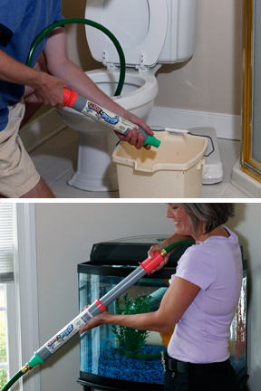 Remove water from a toilet for repairs, or take water out of a fish tank for cleaning.