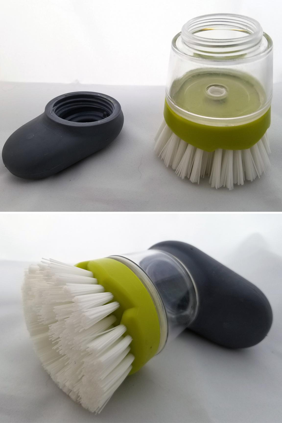Large capacity soap reservoir. Replaceable scrub brush head.