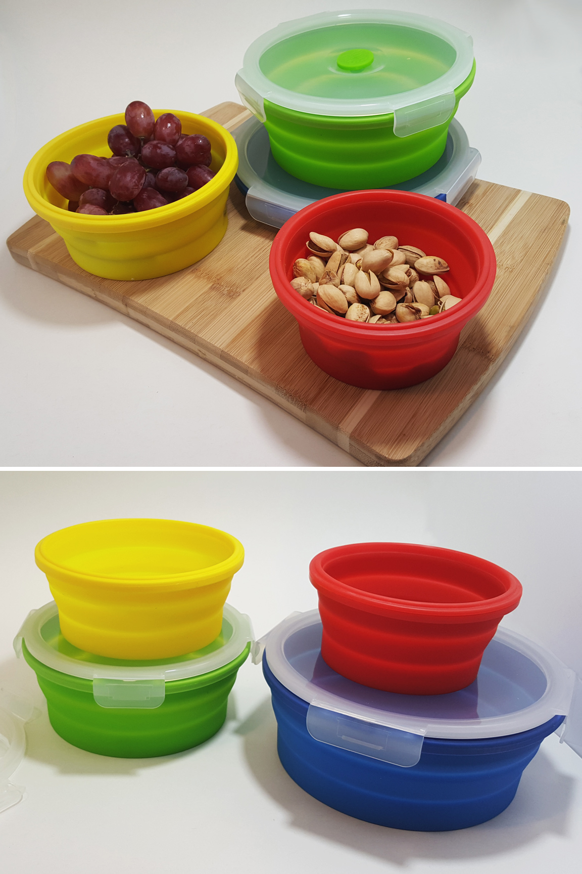 4 containers can hold a wide variety of foods and other stuff.