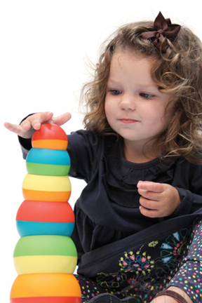Small hands are able to stack and build with ease.