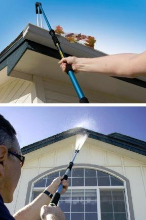 Easily clean gutters or siding.