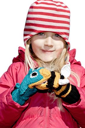 Predator vs. prey mittens are fun and functional.