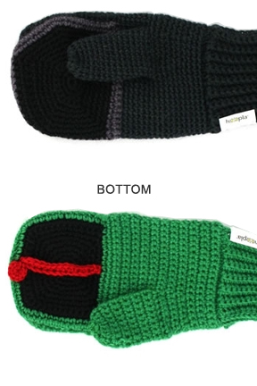 Bottom view. Frog vs. Fly Mittens.