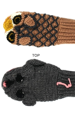 Top view. Owl vs Mouse Mittens.