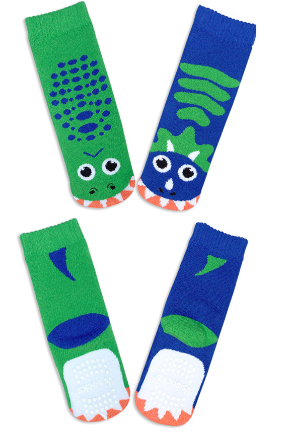 Product Detail. T-Rex and Triceratops Socks.