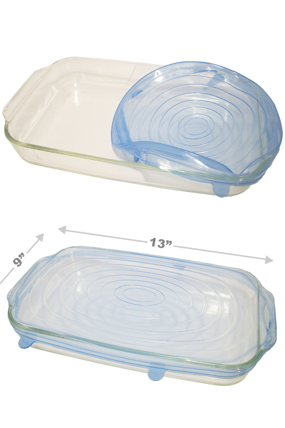 Stretch to fit rectangular dishes up to 13 x 9 inches.