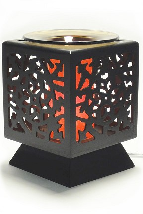 Floral Design Wood Oil Warmer