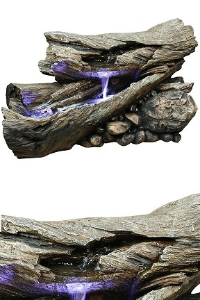 WIN256 Forest Floor Lighted Log Fountain