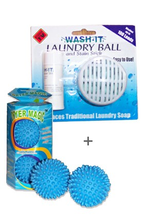 Laundry Ball and Dryer Ball Combo Pack