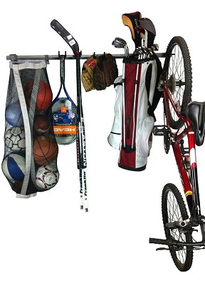 Sports Equipment Storage Rack - Hang everyones gear in one compact location.