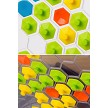 Product detail. Hexagon-shaped pieces come in 4 vibrant colors.